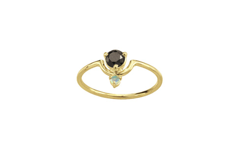 One of a Kind Nestled Black Diamond and Opal Ring
