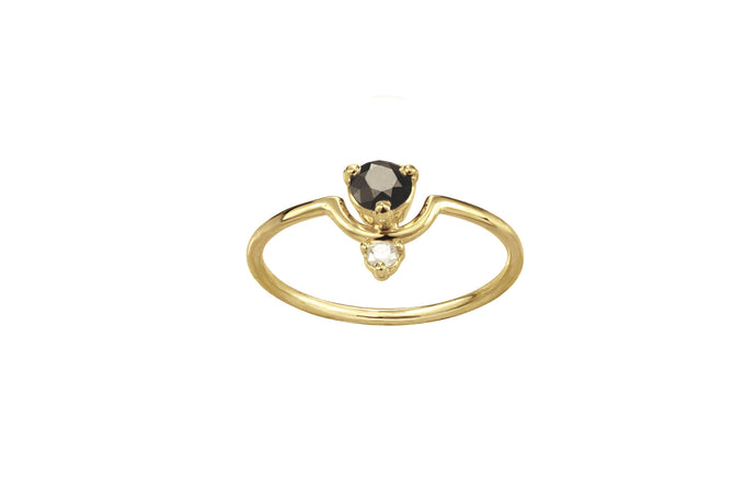 One of a Kind Nestled Black and White Diamond Ring