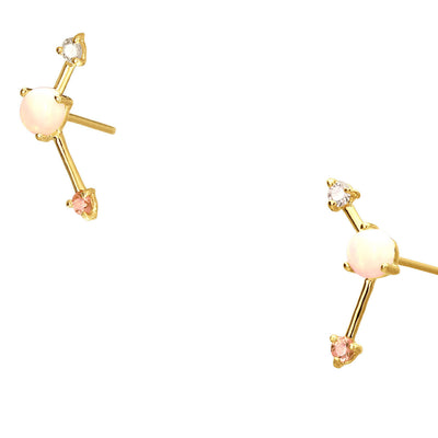 Blush Three-Step Point Earrings