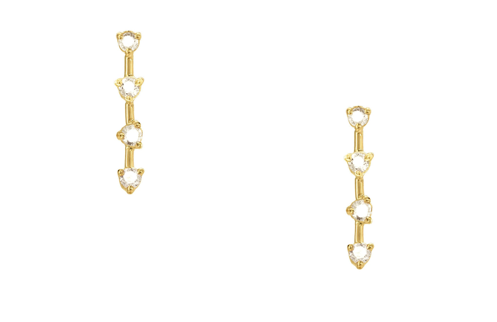 Four-Step Diamond Earrings