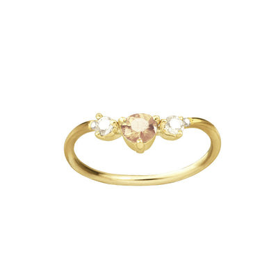 One of a Kind Peach Sapphire and Diamond Arc Ring