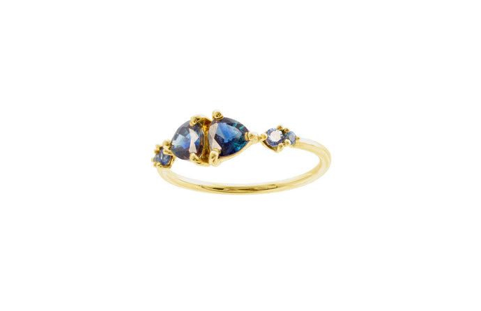 One of a Kind Small Mirrored Trillion Cut Sapphires Ring