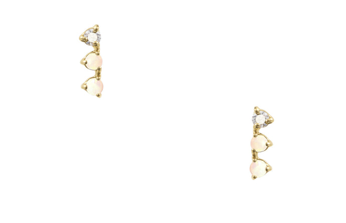Blush Opal & Diamond Three-Step Earrings