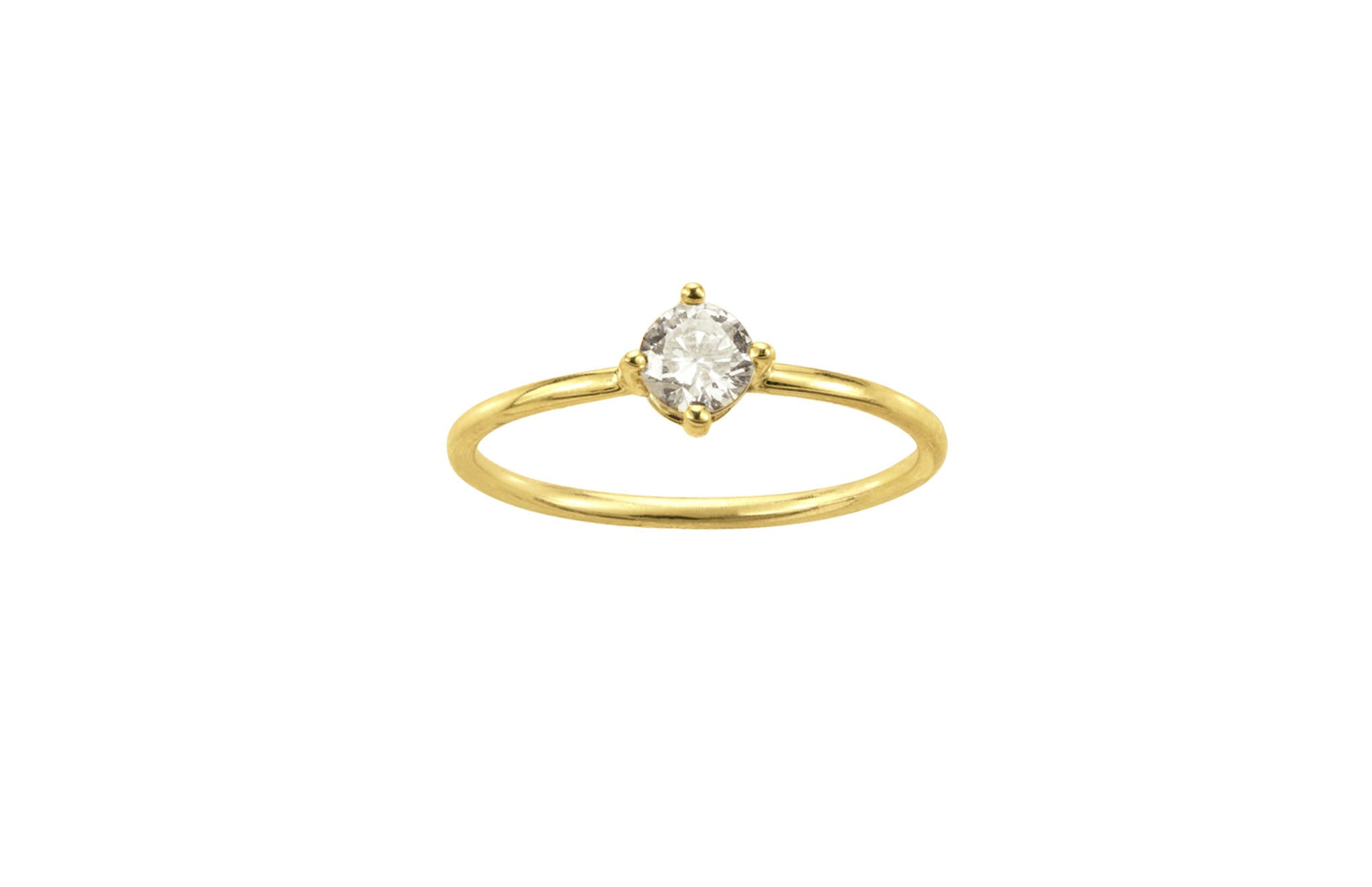 One of a Kind Solitaire Four-Point Diamond Ring