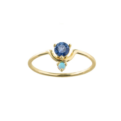 Limited Edition Small Nestled Sapphire and Opal Ring