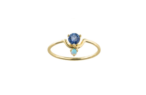 One of a Kind Small Nestled Sapphire and Opal Ring