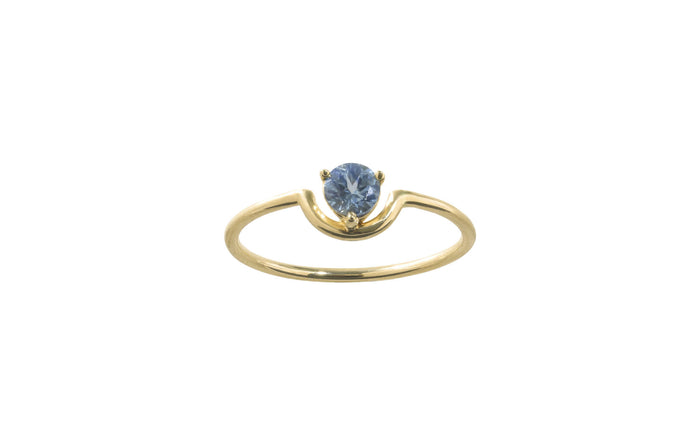 One of a Kind Single Nestled Light Blue Sapphire Ring