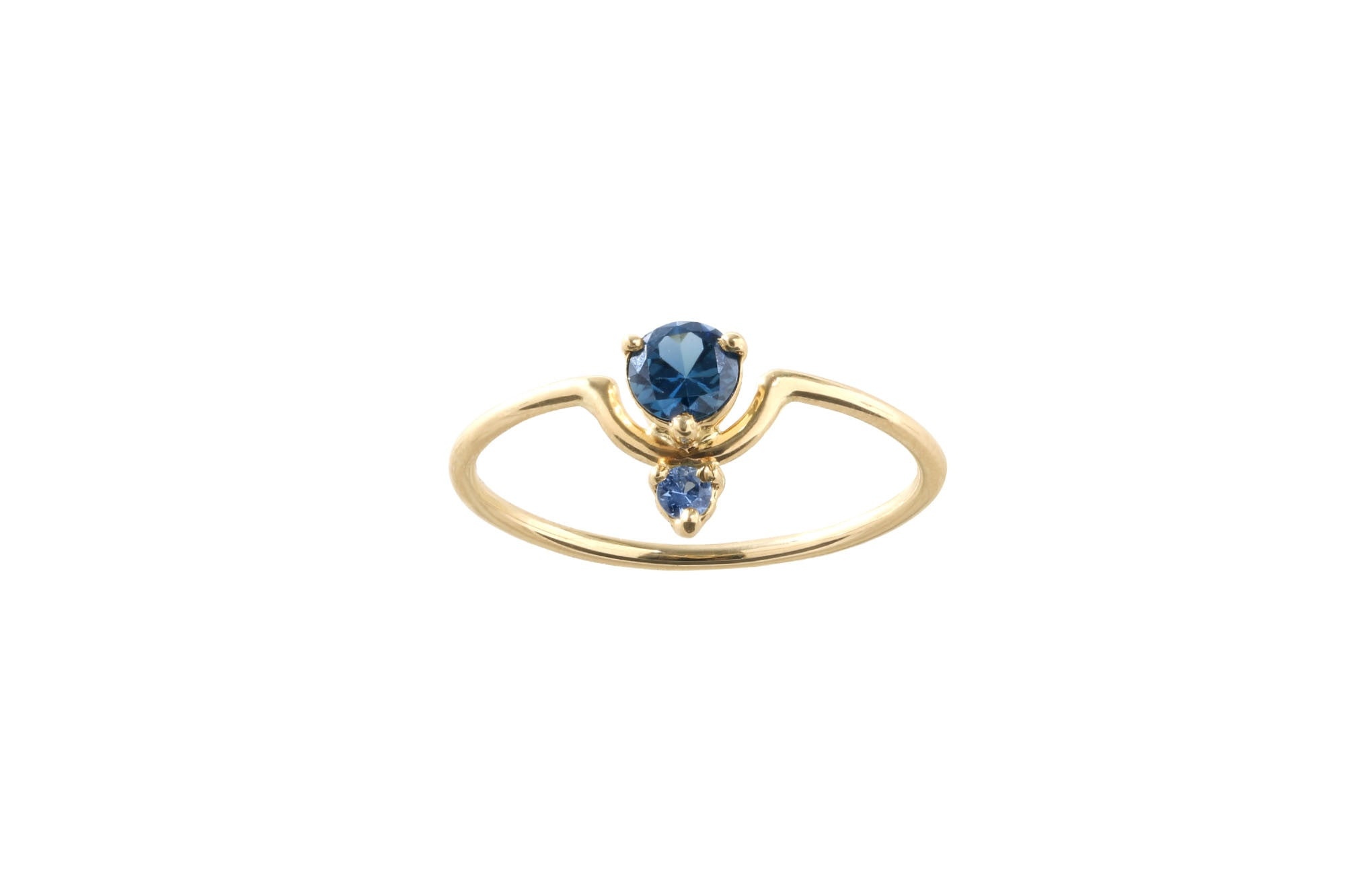 One of a Kind Small Nestled Dark and Light Blue Sapphire Ring