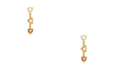 Blush Three-Step Bar Earrings