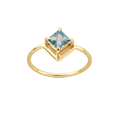 One of a Kind Nestled Princess Cut Smokey Blue Sapphire Ring
