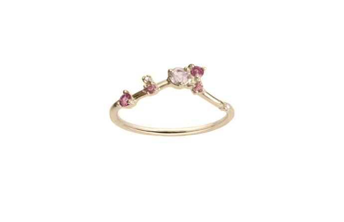 Limited Edition Pink Sapphire and Tourmaline Organic Triangle Ring