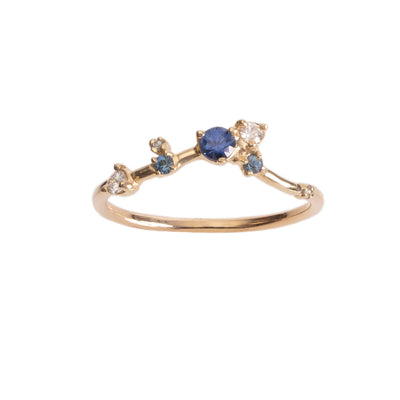 Limited Edition Sapphire and Diamond Organic Triangle Ring