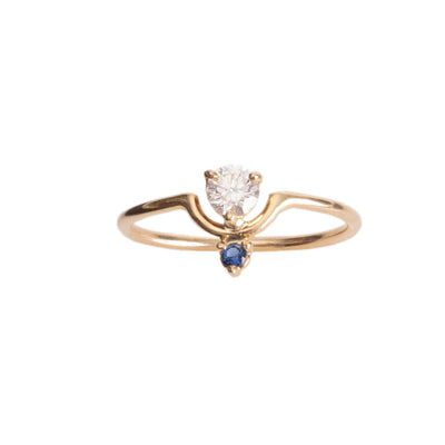 Limited Edition Small Nestled Diamond and Sapphire Ring