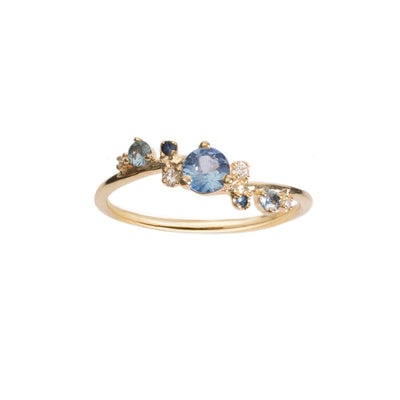 Limited Edition Organic Crossover Sapphire and Diamond Ring