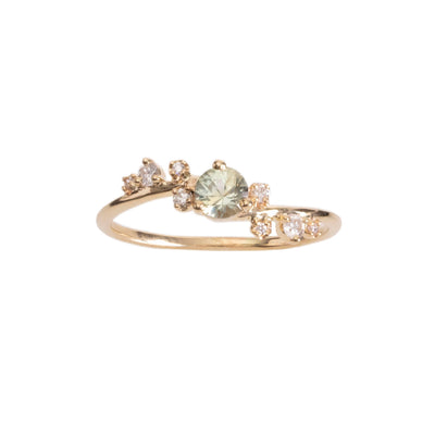 Limited Edition Organic Crossover Light Green Sapphire and Diamond Ring