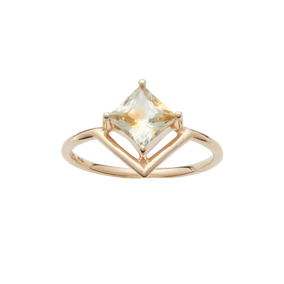 One of a Kind Nestled Princess Cut Yellow Sapphire Ring