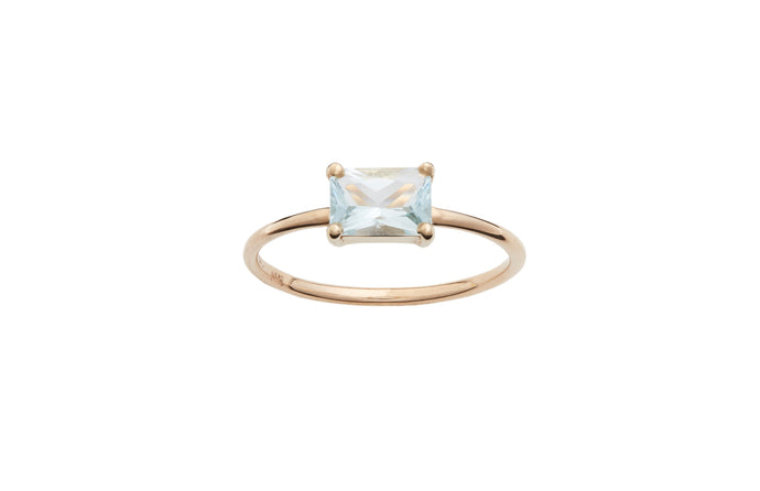 Limited Edition Large Emerald Cut Aquamarine Ring