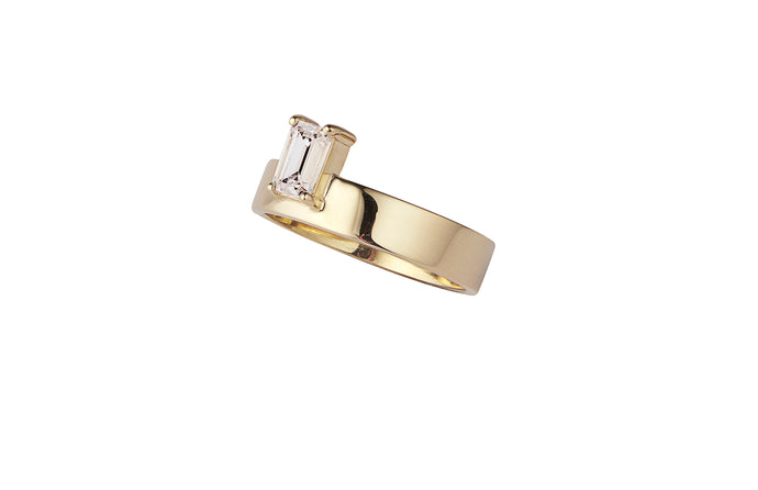 One of a Kind Vertical Emerald Cut Monolith Ring