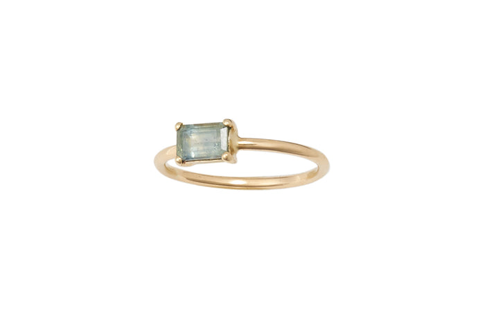 One of a Kind Emerald Cut Green Sapphire Ring
