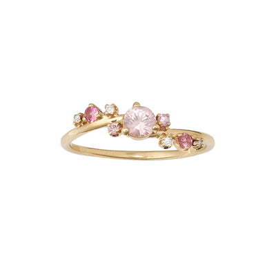 Limited Edition Organic Crossover Pink Sapphire and Diamond Ring