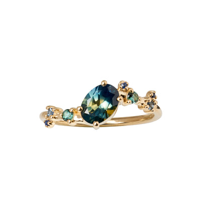 Limited Edition Oval Gradient Sapphire Organic Crossover Ring