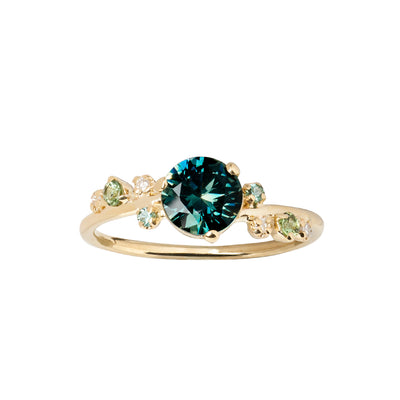 One of a Kind Large Green Sapphire and Diamond Organic Crossover Ring