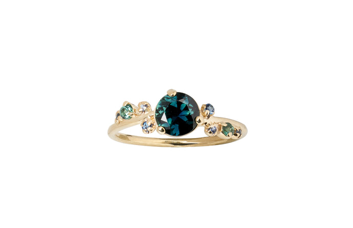 One of a Kind Large Green Sapphire and Tourmaline Organic Crossover Ring