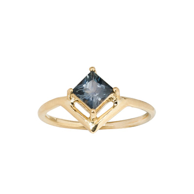 One of a Kind Nestled Blue Princess Cut Sapphire Ring