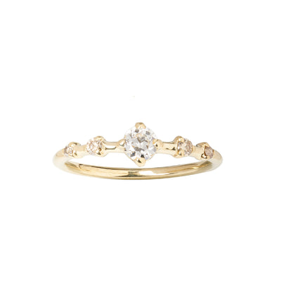 Limited Edition Old European and Champagne Diamond Small Horizon Ring