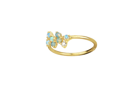 Opal and Diamond Bias Ring