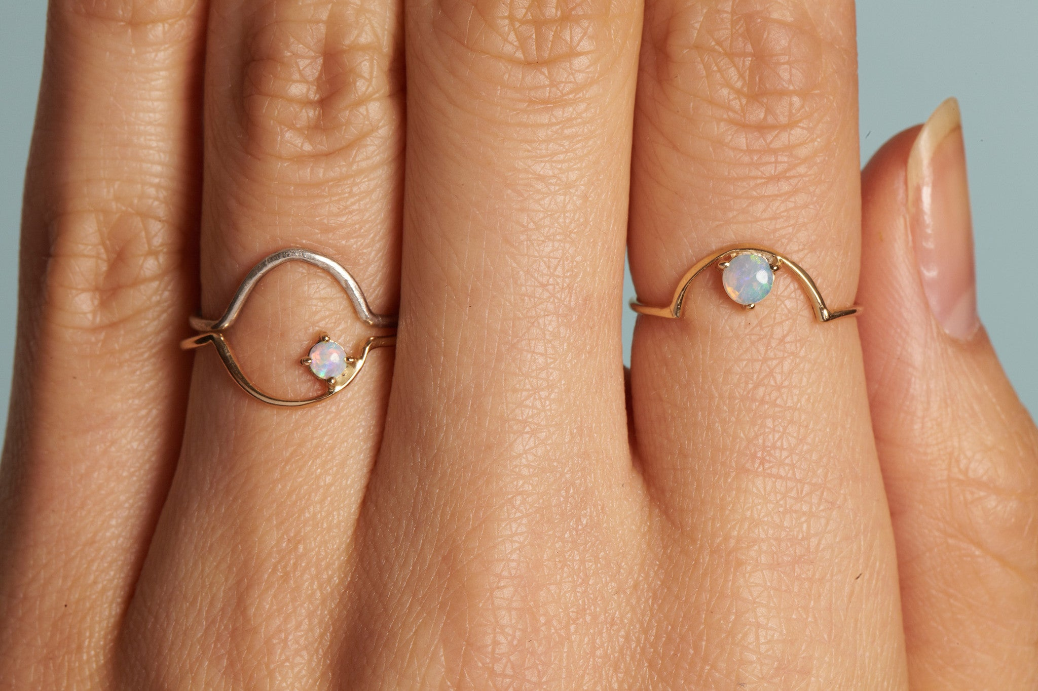 Offset Opal Arc Ring