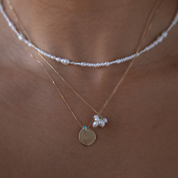 XL Disc Necklace with Opal