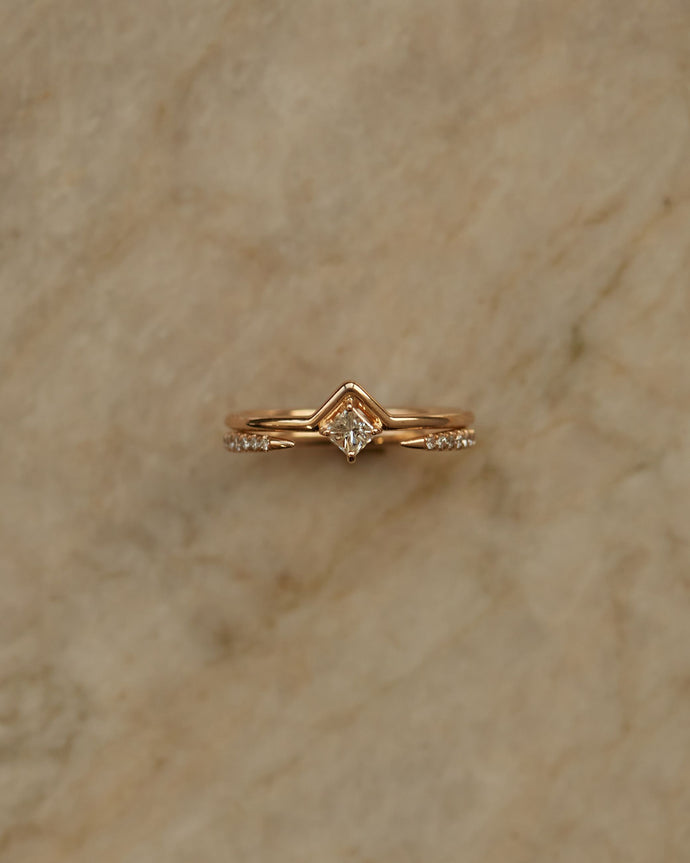 Small Nestled Princess Cut Ring