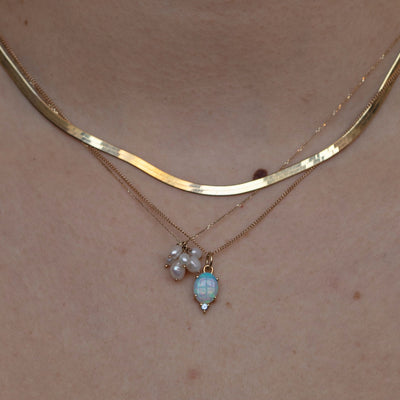 Medium Opal and Sapphire Pendant Necklace