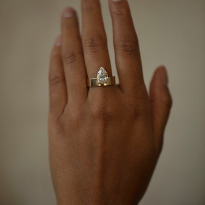 Large Pear Diamond Monolith Ring