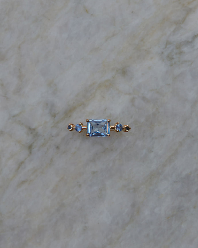 One of a Kind Emerald Cut Sapphire Ring