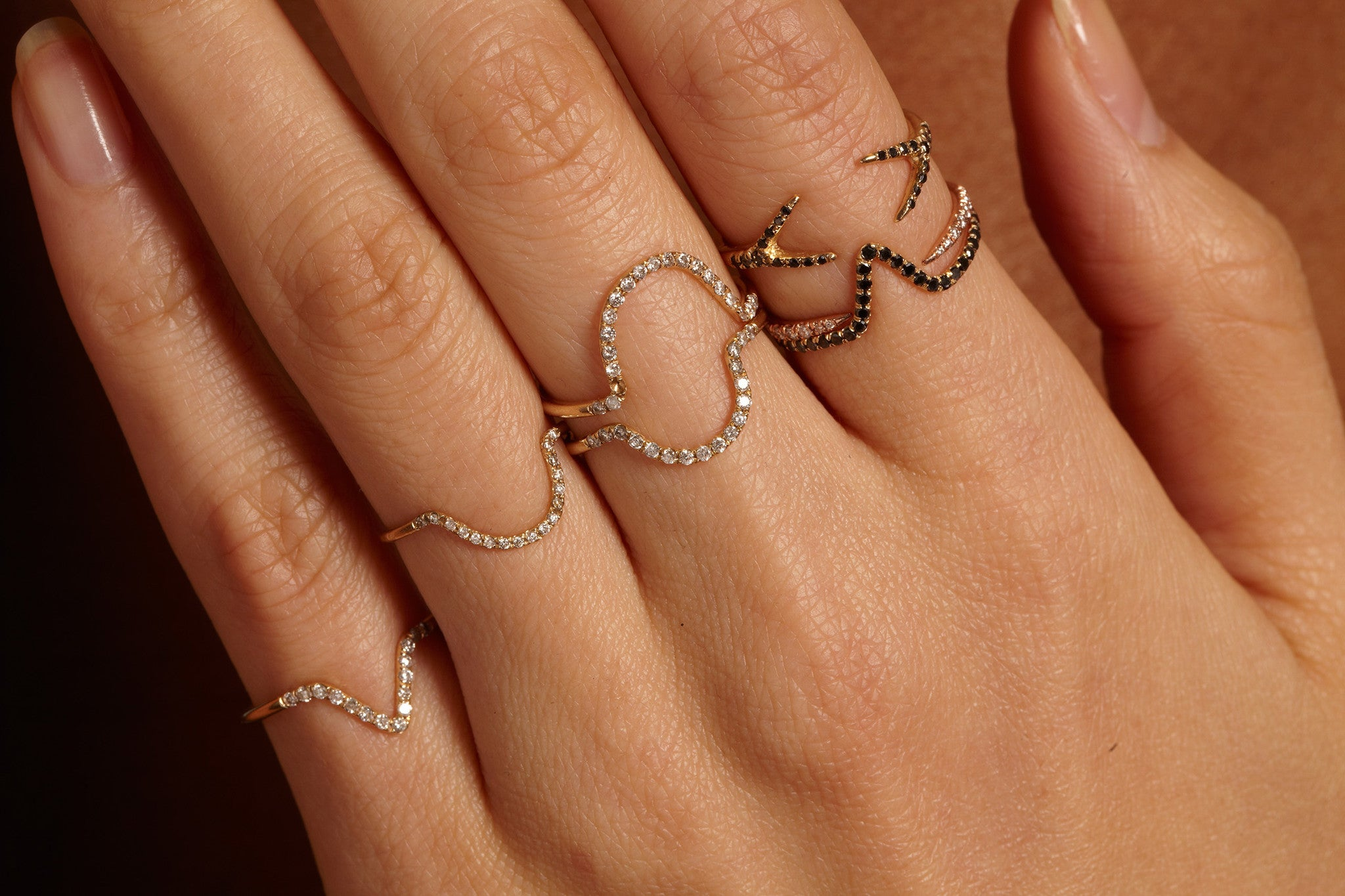Micropave Eternity Triangle Ring