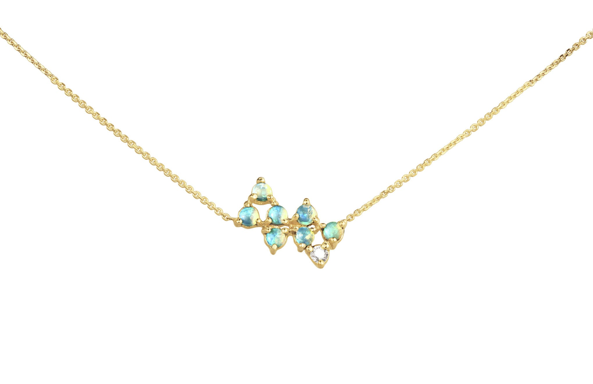 Opal and Diamond Bias Necklace