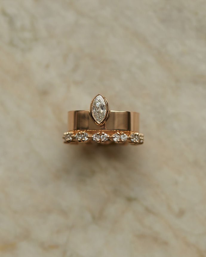 Vertical Marquise Diamond Monolith Ring