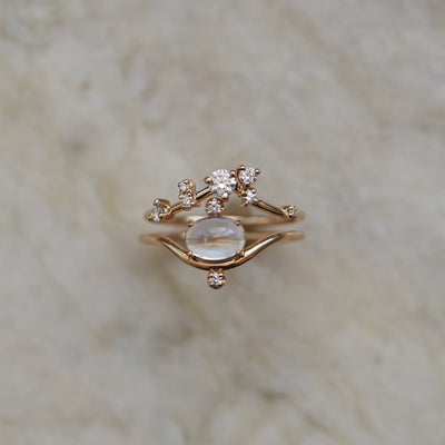 Organic Triangle Brilliant Cut Diamond Ring