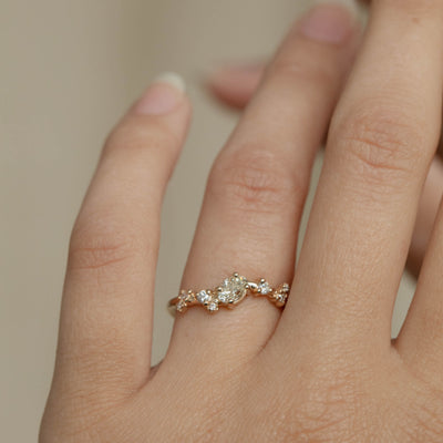 Oval Diamond Organic Crossover Ring