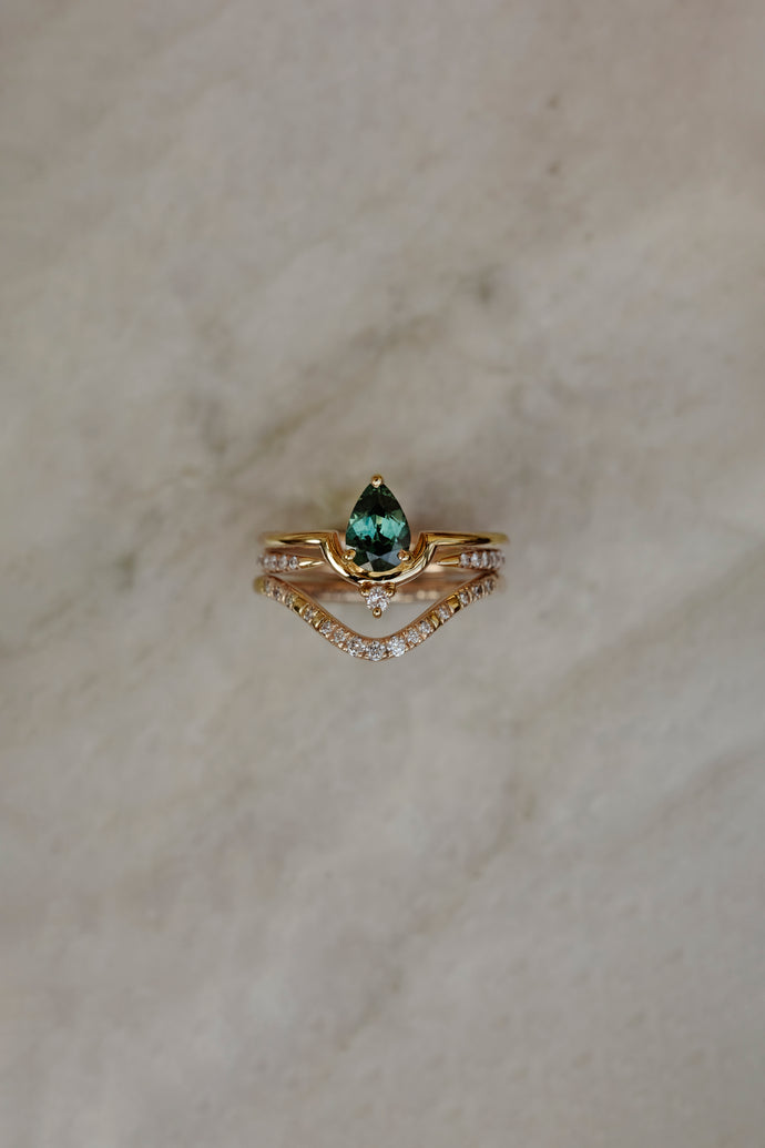 One of a Kind Nestled Pear Sapphire and Diamond Ring