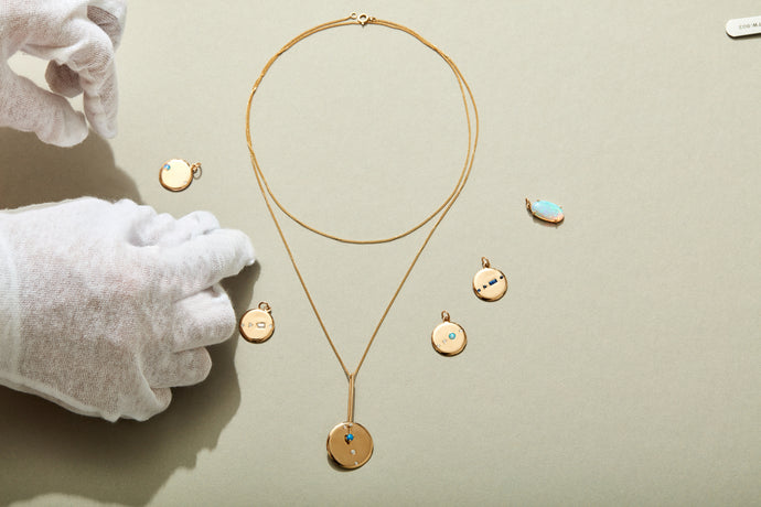 Small Medallion Baguette Necklace