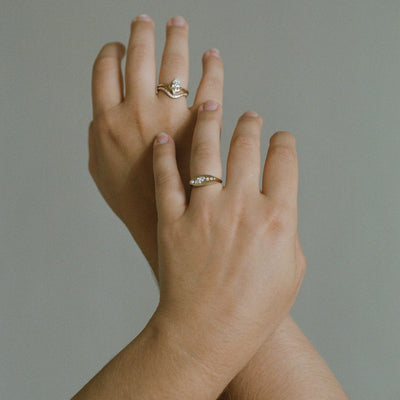 Small Nestled Pear Ring