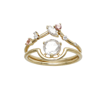 One of a Kind Nestled Rose Cut Diamond & Marquise Triangle Ring