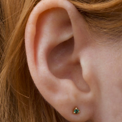 Small Teal Tourmaline Studs