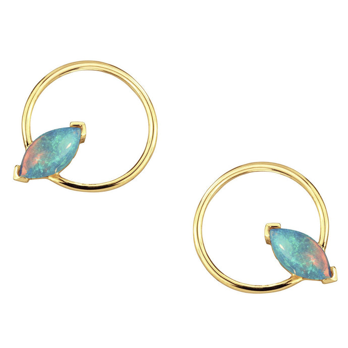 Large Marquise Opal Circle Earrings