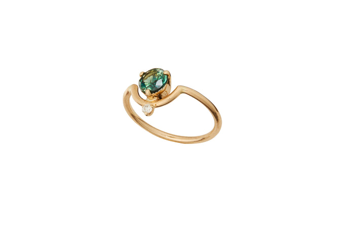 One of a Kind Large Nestled Green Sapphire and Diamond Ring