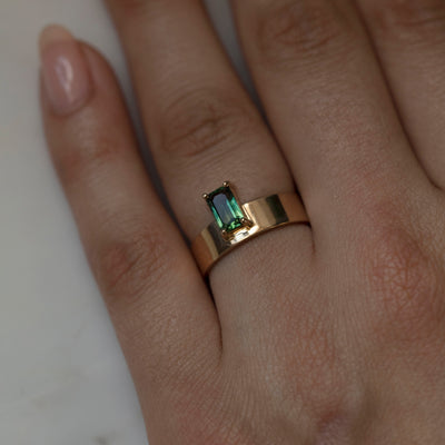 One of a Kind Emerald Cut Gradient Sapphire Monolith Ring