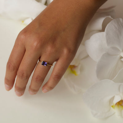 Limited Edition Large Emerald Cut Iolite Ring